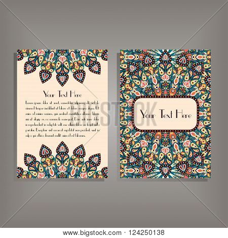 Flyer with round mandala pattern and ornament. Oriental flyer mock-up floral card design layout template. Size A5. Front and back sides. Editable and movable objects. EPS 10.