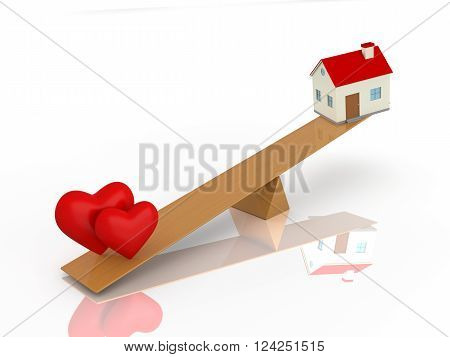 Heart with Home 3d Model - 3D Rendered Image