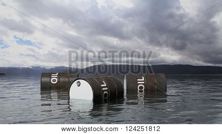 3D black oil drums floating on sea surface, with stormy sky and mountains in background, 3d rendering