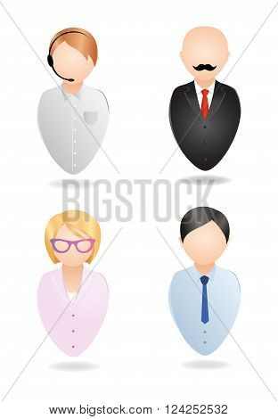 Vector icons. Operator, manager, secretary, boss. Isolated