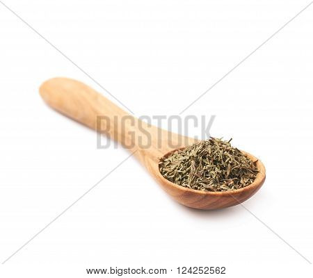 Spoon full of dried thyme seasoning isolated over the white background