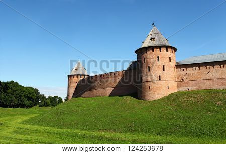Veliky Novgorod Russia June 19 2014 fortress walls of the Novgorod Kremlin architecture, the UNESCO World Heritage Monument