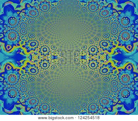 Abstract geometric seamless background. Elliptical ornaments with floral pattern in lemon lime green and blue shades, centered and shiny.