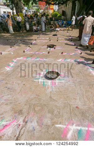 Trichy, India - October 15, 2013: Several mandalas are waiting for customers, devotees to have a rite performed for them in them at Amma Mandapam.