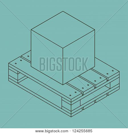 Closed carton delivery packaging box on wooden pallet isolated on blue background vector illustration