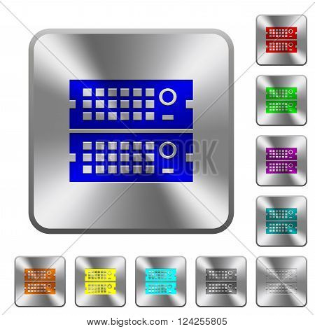 Engraved rack servers icons on rounded square steel buttons
