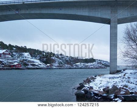the bridge between orust and tjorn in winterlandscape