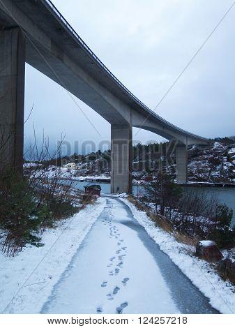 the bridge between orust and tjorn in winterlandscape