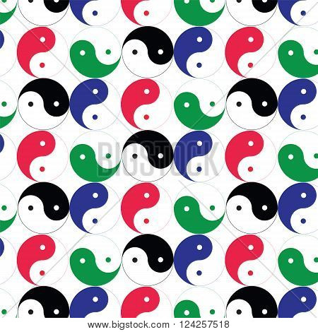 Seamless of taoism symbol (Yin-yang) with blue,red,green on white background