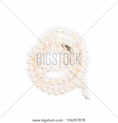 Folded pearl necklace isolated over the white background