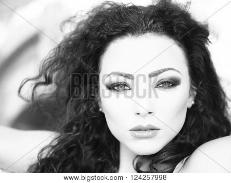 Portrait Of Beautiful Serious Brunette