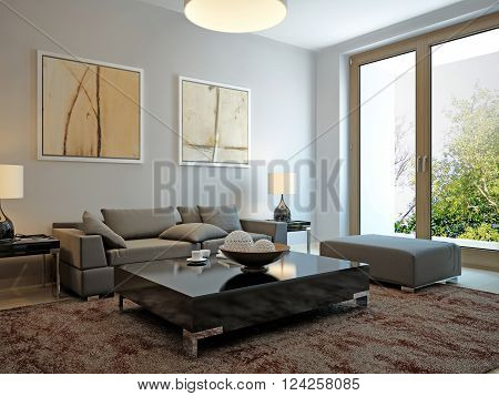 Living room scandinavian style with balcony. 3d render