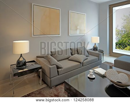 Living room avant-garde style with grey walls. 3d render