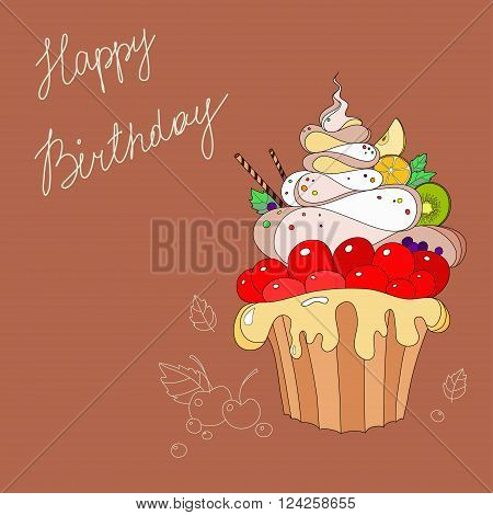 Illustration of fantastic cakes with Happy Birthday inscription on pink background