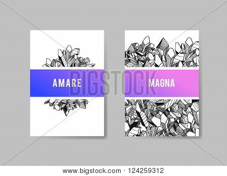 Set of Templates Brochures. Abstract Background. Vector for Underground Design With Crystal. Hand Drawn Illustration