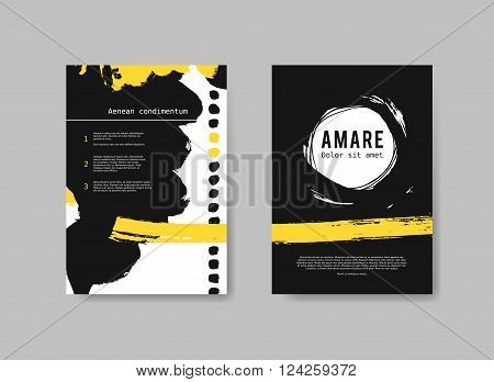 Set of artistic Design Templates Flyers with black and yellow paint splashes.  Abstract Painted Backgrounds. Underground Hand Drawn Vector