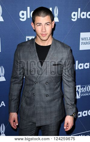 Nick Jonas at the 27th Annual GLAAD Media Awards held at the Beverly Hilton Hotel in Beverly Hills, USA on April 2, 2016.