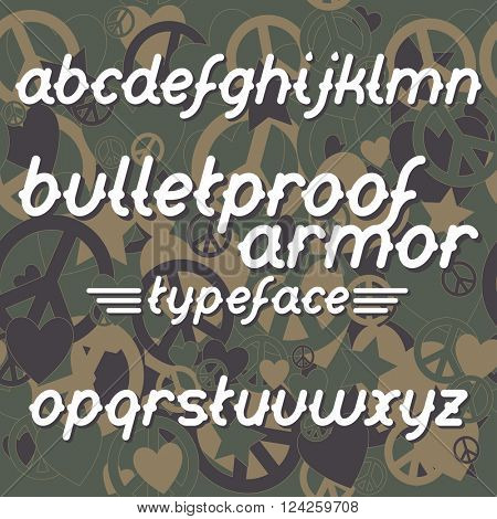 Bulletproof armor typeface. Bulletproof font set. Vector bulletproof armor typeface on military camouflage background