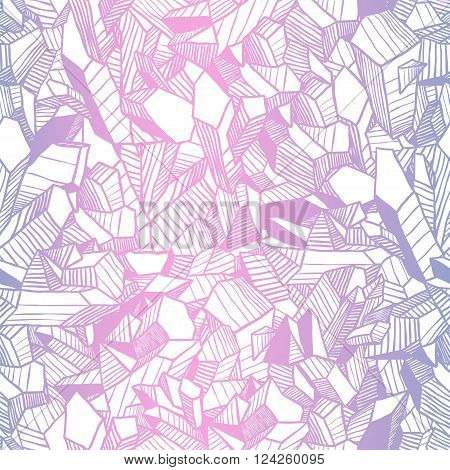 Seamless vector pattern with pink and blue crystals