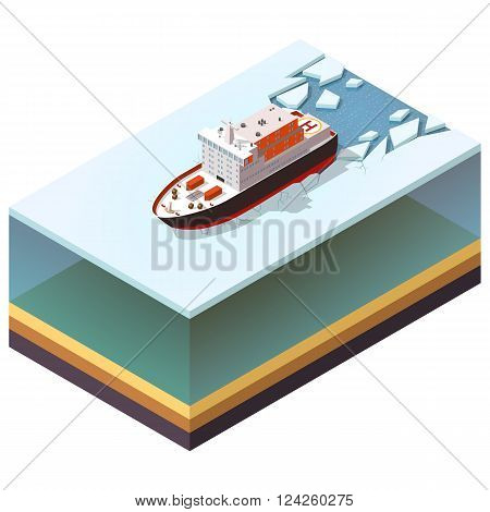 Isometric icon nuclear-powered icebreaker sailing in ice.