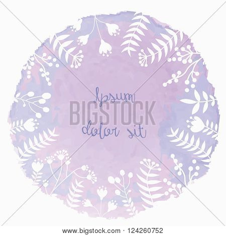 Banner with vector watercolor backdrops and floral shapes on it