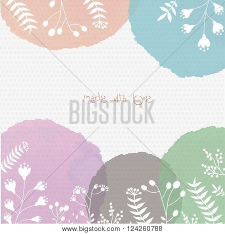 Background with vector watercolor backdrops and floral shapes on it