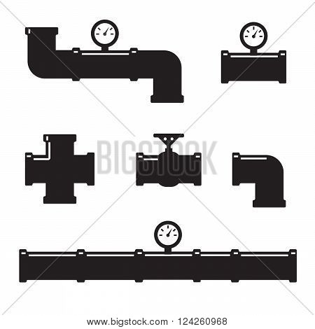 Pipe fittings vector icons set. Tube industry construction pipeline drain system