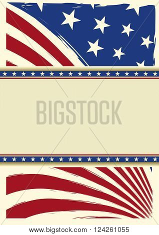 american nice background flag. American grunge flag for you with a frame for your message
