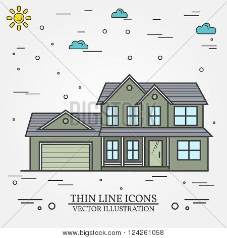 Vector Thin Line Icon  Suburban American House. For Web Design And Application Interface, Also Usefu