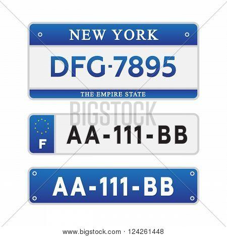 License car number plates. 10 eps vector illustration