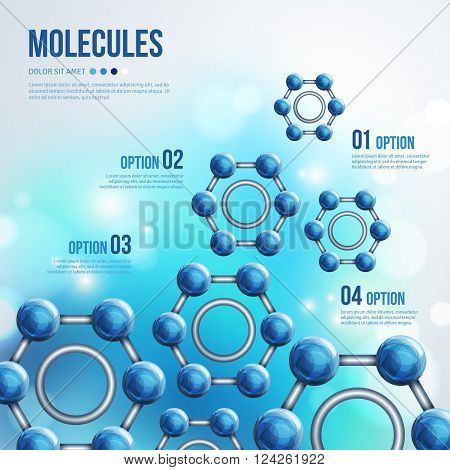 Chemistry Infographic with Blue Molecules design. Vector illustration. Atoms. Medical background for banner or flyer. Benzene structure with ring. Blurred backdrop with flare lights, bokeh.