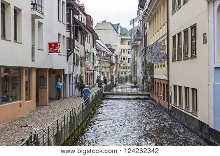 Old Town Street In Freiburg Im Breisgau City, Germany