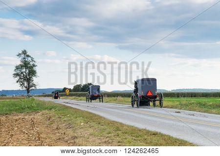 Three amish carriages along a rural road in Lancaster County Pennsylvania