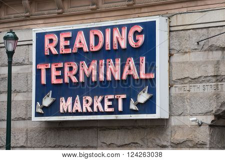 PHILADELPHIA PA - MARCH 19, 2016: Reading Terminal Market is a historic food and produce market located at 12th & Arch streets in Philadelphia Pennsylvania.