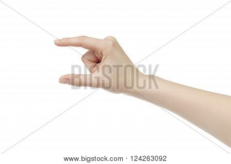 young female right hand to hold something small like card, isolated on white