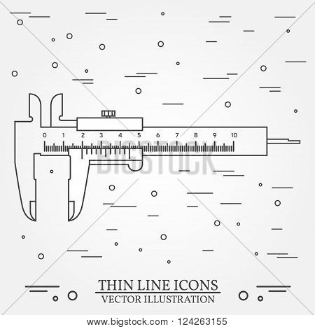 Vector Thin Line Icon  Calipers. For Web Design And Application Interface, Also Useful For Infograph