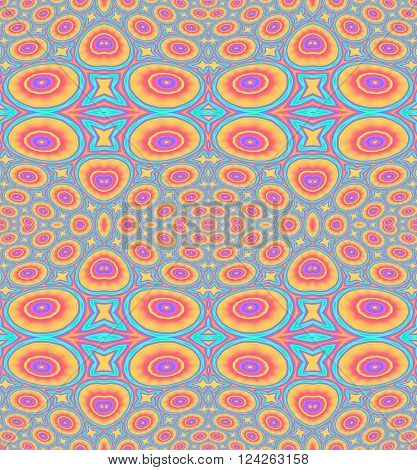 Abstract geometric seamless background. Ornate ellipses and circles pattern orange, red, violet, dark blue and turquoise blue.
