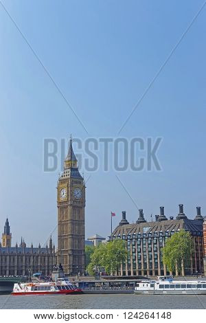 Big Ben of Westminster Palace near River Thames in London UK. Big Ben is a nickname for the Great Bell of the clock of Westminster Palace in London. It is officially well-known as Elizabeth Tower