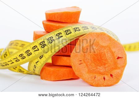 Slices Of A Carrot With A Measure Tape Wrapped Around Isolated On A White Background