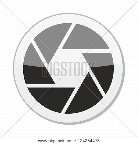 Glossy camera objective icon, symbol for digital media