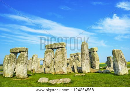 Stonehenge in Wiltshire in England. It is a prehistoric monument 8 miles north from Salisbury in the place called Wiltshire in South West England. It is under protection of UNESCO.