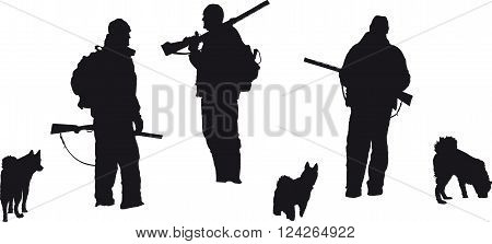 vector silhouettes of hunters and hunting dogs on white background