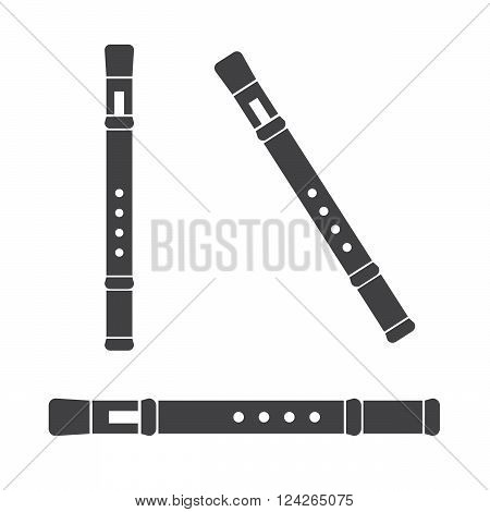 Classical flute isolated on white background. 10 eps vector illustration