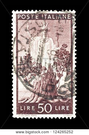 ITALY - CIRCA 1945 : Cancelled postage stamp printed by Italy, that shows Italia and oak tree.