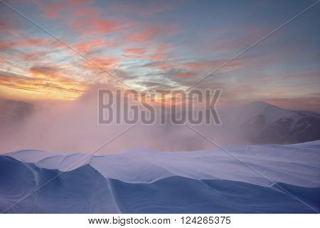 Carpathian mountains, winter landscape, Carpathians forest .