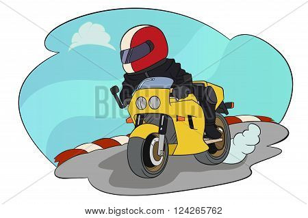 A vector illustration of biker riding on his motorbike