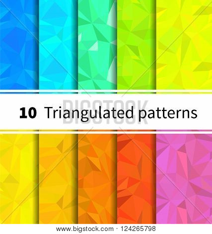 Set of ten triangulated seamless patterns in rainbow colors