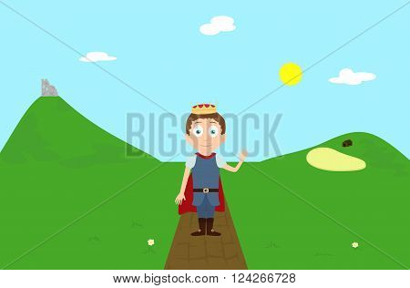 Vector cartoon illustration prince character greeting on green hill landscape scene with ruin and farm