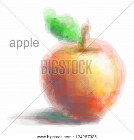 red apple with yellow edging low poly vector. polygonal illustration on a white background. Poly triangular trendy