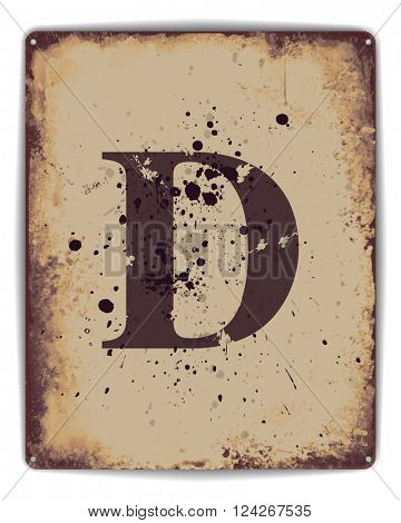 Retro tin plate style poster with capital letter D monogram. EPS10 vector format